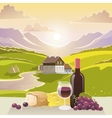 Mountain Landscape With Wine And Cheese vector image