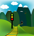 Mountain landscape with railway vector image vector image
