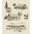 farm and vintage hand drawn vector image