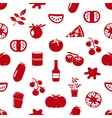 tomatoes theme simple icons red seamless pattern vector image