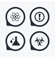Attention biohazard icons Chemistry flask vector image