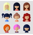 Set of Women Faces Icons in Flat Design vector image