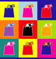 Shopping bag sign with tag pop-art style vector image