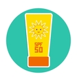 Sunscreen SPF 50 The yellow tube on blue vector image
