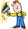 worker with brush cartoon vector image