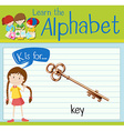 Flashcard letter K is for key vector image