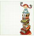 Schoolgirl sitting on the heap of books vector image