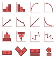 Graph and money color icons with shadow vector image vector image