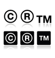 Copyright trademark icons set vector image