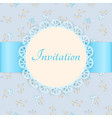lace frame with blue ribbon on floral background vector image