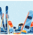 Winter sports background with equipment sticker vector image vector image