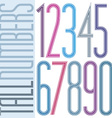 Poster tall colorful striped numbers on white vector image