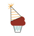 birthday cupcake with party hat decoration vector image