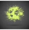 Grunge green earth on black background vector image