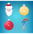 Icons on Blue Background Christmas vector image