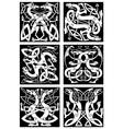 Magic dragons celtic knot patterns in tribal style vector image
