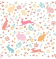 Rabbits in hearts and flowers vector image