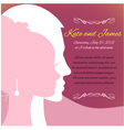 Wedding invitation card with silhouettes of couple vector image