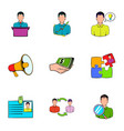 business interview icons set cartoon style vector image