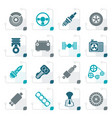 stylized different kind of car parts icons vector image vector image