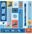 Winter sports background with equipment flat icons vector image vector image