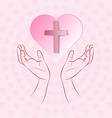 True cross in pink heart floating over human hand vector image