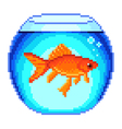 Pixel goldfish in fishbowl isolated vector image vector image
