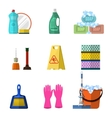 Cleaning icons set with mop soap and gloves vector image