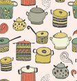 Cute cooking pots and lettering vector image