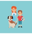 kids boy and girl with dog image vector image