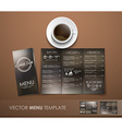 The mockup of the coffee menu with a cup of coffee vector image