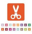The scissors icon Shears and clippers cut off vector image