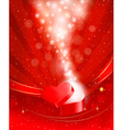 Valentines day background with open red gift box vector image