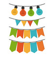 white background with set of party festoon and vector image