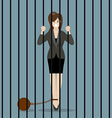 Business woman with weight in prison vector image