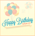Vintage Happy Birthday Card With Balloons vector image vector image