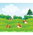 Chickens on Hill vector image vector image