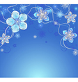 blue background with silver flowers vector image vector image