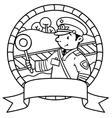 Funny railroader Coloring book Emblem vector image