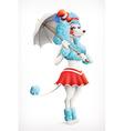 Actress circus poodle cartoon character mesh vector image
