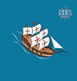 brown sailer on a blue background vector image