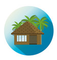 bungalow with palm trees tropical apartment icon vector image