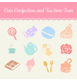 cute pastel confection and tea time cartoon icon vector image
