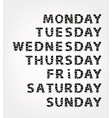 Days of week made from photo frames vector image