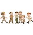 Soldiers in brown uniform vector image