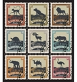 set of stamps with different animals vector image vector image