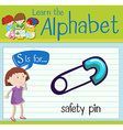 Flashcard letter S is for safety pin vector image