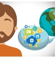 man world bubble speech communication social media vector image