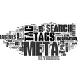 why meta tags used text word cloud concept vector image