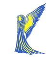 Female angel in yellow and blue symbolize the vector image vector image